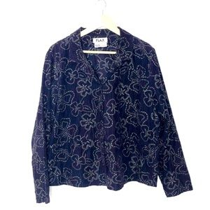 FLAX Cotton Corduroy Floral Embroidered Jacket